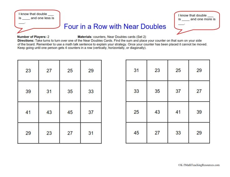 Free Addition Center Four In A Row With Near Doubles