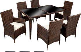 Salon de jardin - 6 Chaises, 1 Table en Résine Tressée ...