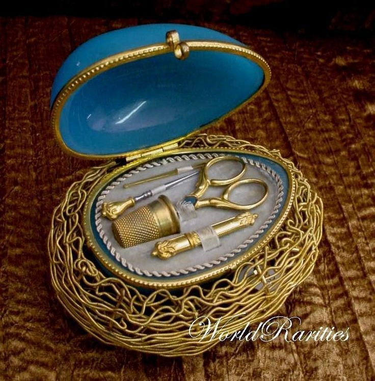 "Antique French Blue Opaline Etui ""Five Pieces"" from worldrarities on Ruby Lane"