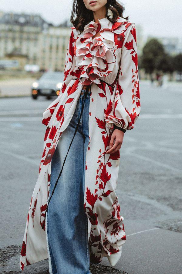 364cdba6cd0 Sexy Floral Falbala Long Sleeve Fork shirt – maxpassion | looks ...