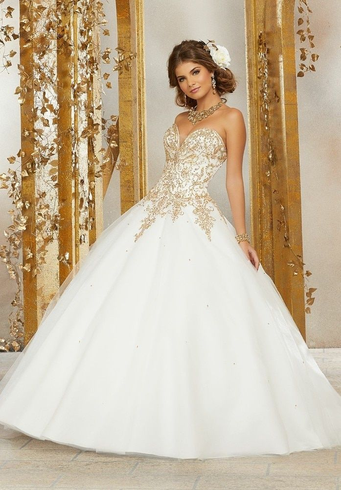 e24d6dc0626 Contrasting Beading on a Tulle Ballgown  60074  morilee   quinceaneradress2018  quinceaneramall