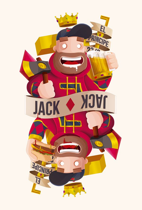 """Playing Arts Creative Contest 2016   Playing Arts is launching an international design contest where artists from all over the  world will show off their skills and share their vision of the custom playing cards.   This is my design of the """"Jack ♦ Diamonds""""  for the contest."""