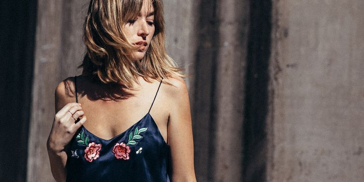 Ginia\RTW bespoke collection. Carmen Hamilton wears an emroidered floral, rose silk navy cami. Street style in Sydney. Fashion & Beauty on CHRONICLES OF HER.