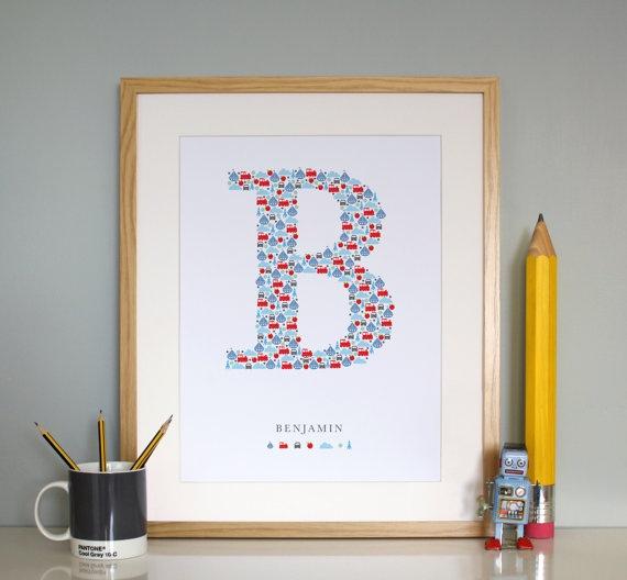 custom monogram / etsy $42Wall Art, Monograms Letters, Boys Nurseries, Gift Ideas, Baby Boys, Baby Prints, Baby Room, Boys Room, Baby Gift