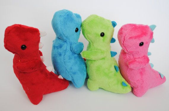 Dinosaur Plushie CHOOSE YOUR COLORS by radtastical on Etsy