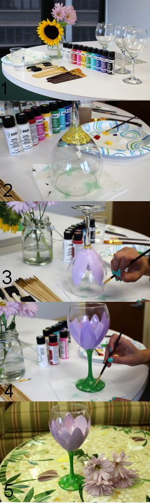 Let your creative side out and learn how to decorate wine glasses! All you need is Enamel paint, paintbrushes and clear wine glasses! #DIY