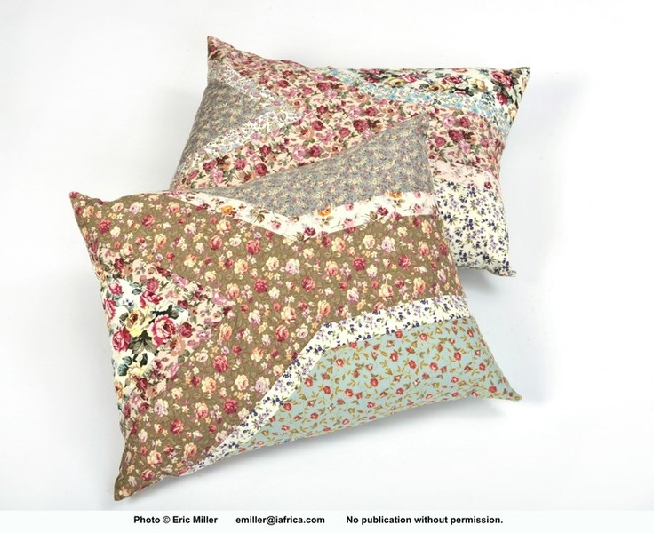 patchwork cushions.  Love Lolla.  Patchwork floral South African flag cushion with feather inner and petersham tie at the back.