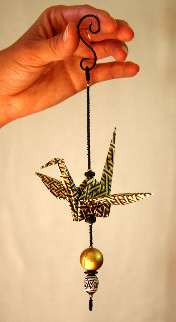Origami & Beaded Paper Crane Mobile - Hanging Ornament - Window Decoration -  BLACK and WHITE - GEOMETRIC