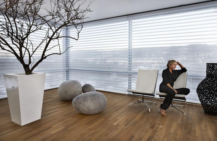 Dit zijn nou mooie shades voor grote ramen! De functionaliteit van een jaloezie en de subtiele look van vitrage. Ideaal