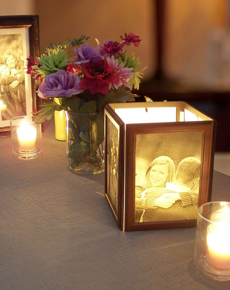 How to Make Photo Centerpieces with Candles- good idea for the outside reception area!!