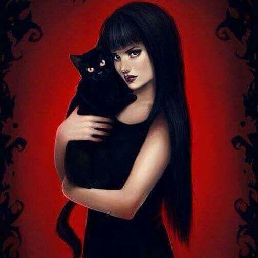 ragazza mora con gatto nero
