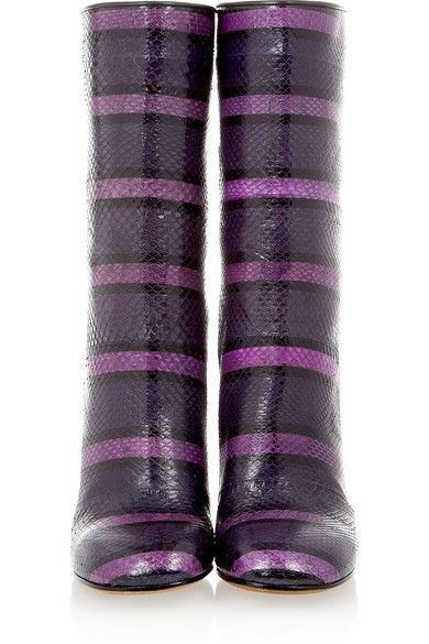 Givenchy - Ankle Boot In Watersnake And Eel Patchwork - Purple - IT37.5