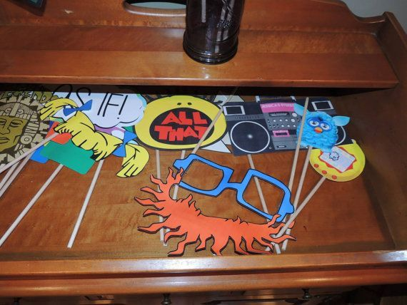 90s Photo Booth Party Props Perfect for the by TagsforTots on Etsy