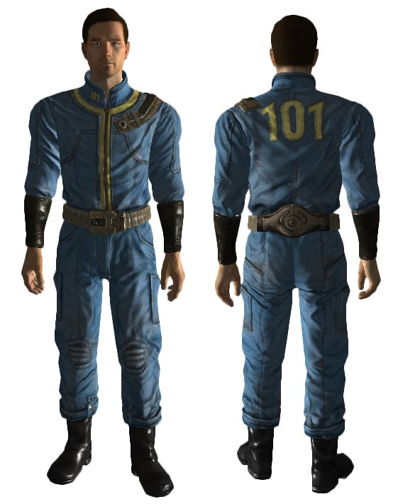 Vault 101 jumpsuit - leather w/polyester trim and numbers; belt is aluminum (according to fallout wiki)