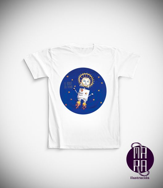 Camiseta Robot para hombre Colores disponibles: Blanco  Tallas disponibles: M http://camaloon.es/descubre/artistas/mara-ilustracion/creaciones/black-cat-white-cat/camisetas-personalizadas/camisetas-personalizadas-hombre/productos
