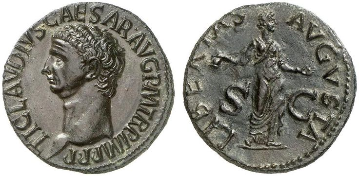 AE As. Roman Coin, Roman Empire, Claudius 41-54 AD. 42-43 AD. 9,93g. RIC 130, 113. Good EF/EF. Price realized 2011: 1.400 USD.