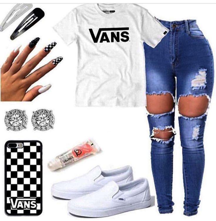 Süße Outfits mit Jeans in heller Waschung; Niedliche Outfits für die Schule im Sommer …