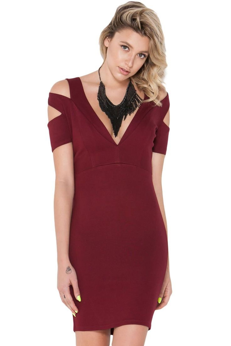 Robes Moulantes Knockout Cut Out epaule Nue Robe Pas Cher www.modebuy.com @Modebuy #Modebuy #Rouge #dress #me #commenter