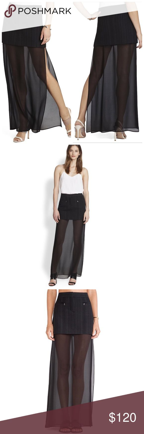 """BCBGMAXAZRIA """"KENDHAHL"""" skirt XS Super cute! BCBGMAXAZRIA skirt. Black. Perfect for the summer heat to come! Nwt. Never been used! Chiffon bottom part. Slit on the side. If you have any questions let me know!! 😍 BCBGMaxAzria Skirts Maxi"""