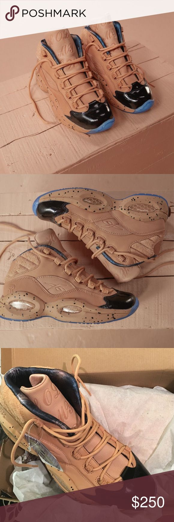 "ME X AI 20th Anniversary Reebok Sneakers Melody Ehsani in collaboration w/ Reebok Classics & Allen Iverson. Made w/ natural vegetable tanned leather in 3 different textures/black patent toe bed. Classic Hexalite Midsole cushioning. Comes w/ 2 different color laces: tonal color & black/tan hiking laces. Every pair comes w/ 3 sets of velcro patches that attach to the back panel on the exterior of the shoe. Each patch features a different one of AI's tattoos. Tongue has AI's ""Hold My Own""…"
