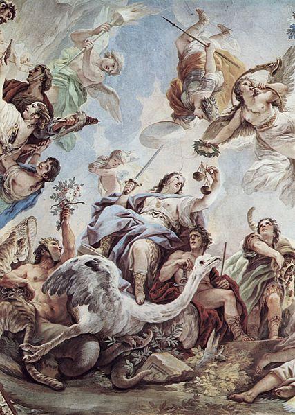 La Giustizia: la quarta ed ultima virtù, che vede in mano una spada ed una bilancia, rappresenta la Giustizia, accanto alla quale vi è la figura dell'Inganno (la persona a sinistra con gambe simili alla coda di un serpente, viso mascherato e con in mano dei fiori dentro i quali vi è nascosto un serpente).
