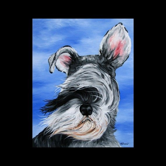 Sailing with a Schnauzer Dog Giclee Fine Art Print by L.J. Grove