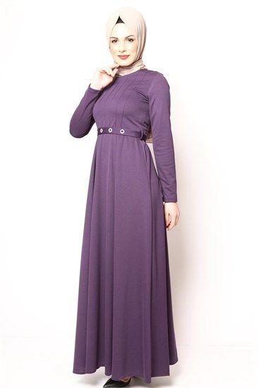 Tesettür Elbise Zımbalı Mor 2501
