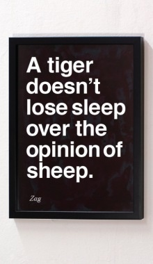 """""""A tiger doesn't lose sleep over the opinion of a sheep."""" Be a tiger."""