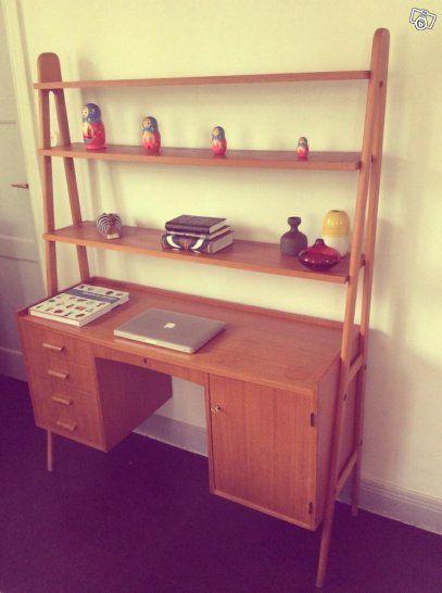 Snygg bokhylla/skrivbord i teak. Retro 50-, 6 | Stockholm Blocket
