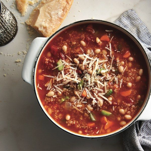 A hearty, tomato-ey vegetarian soup you can make all winter long. Get this quinoa minestrone recipe and more at Chatelaine.com