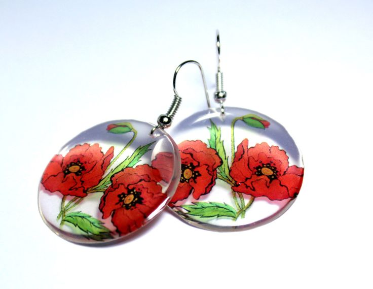 A personal favourite from my Etsy shop https://www.etsy.com/listing/220385506/resin-transparent-earrings-poppy