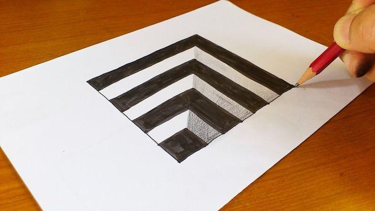 Sehr leicht!! So zeichnen Sie ein 3D-Loch für Kinder – Anamorphic Illusion – 3D