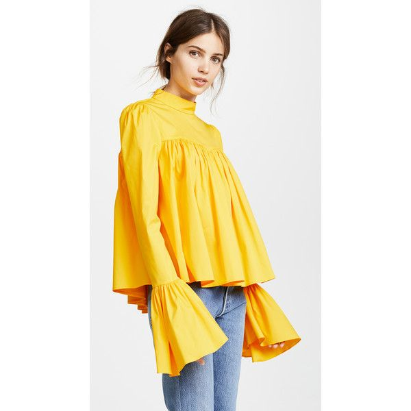 Caroline Constas James Blouse ($395) ❤ liked on Polyvore featuring tops, blouses, pleated top, yellow blouses, stretchy long sleeve tops, stretch blouse and yellow long sleeve top