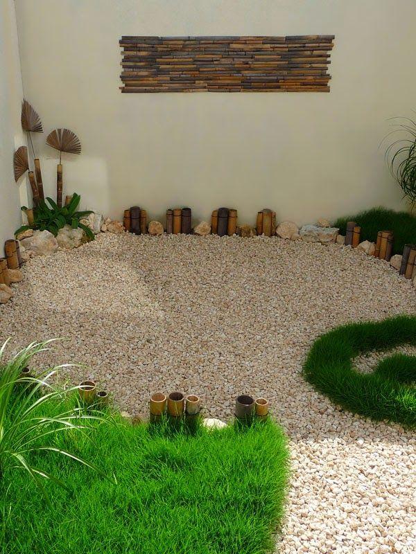 diseño de un jardin pequeño minimalista en México - decoraciones de bambu