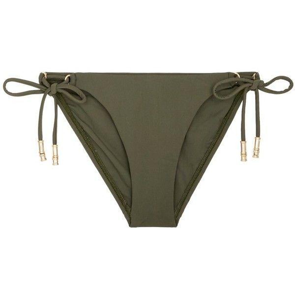 ViX 'Military' long tie bikini bottom ($115) ❤ liked on Polyvore featuring swimwear, bikinis, bikini bottoms, green, vix bikini, strappy bikini bottom, green bikini, tie bikini bottom and military bikini