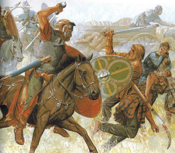 Roman cavalry against Dacian warriors, c. 100 CE