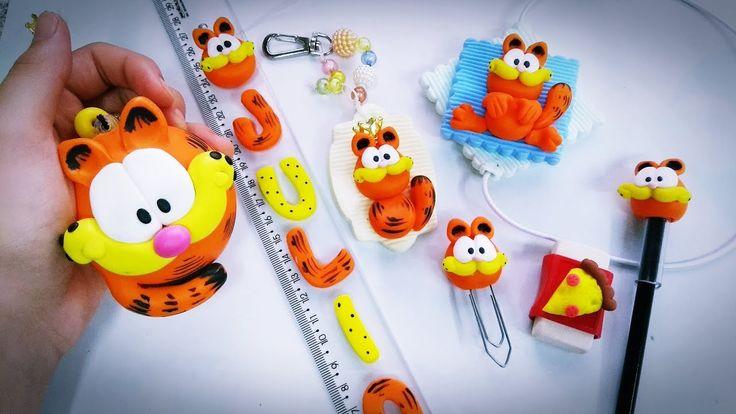DIY - Kit escolar do Garfield em biscuit - passo a passo - Volta as aulas!