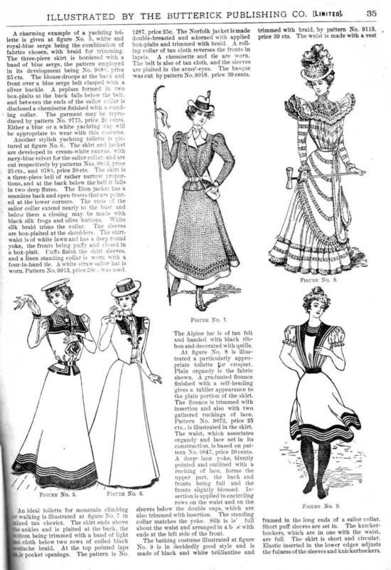 Styles for outdoor sports (boating, hiking, croquet, sea bathing), The Glass of Fashion, July 1898.