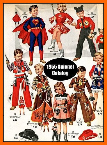 1955 Halloween costumes by mcudeque, via Flickr - These were what the children who could afford to buy costumes would wear. We always went as Hobos, using burned cork for makeup.