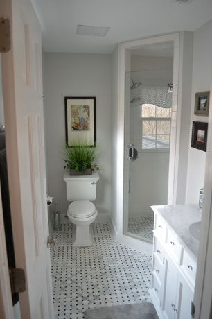 Traditional 3/4 Bathroom with Flush, Fieldcrest luxury bath rugs, frameless showerdoor, Flat panel cabinets, Undermount sink