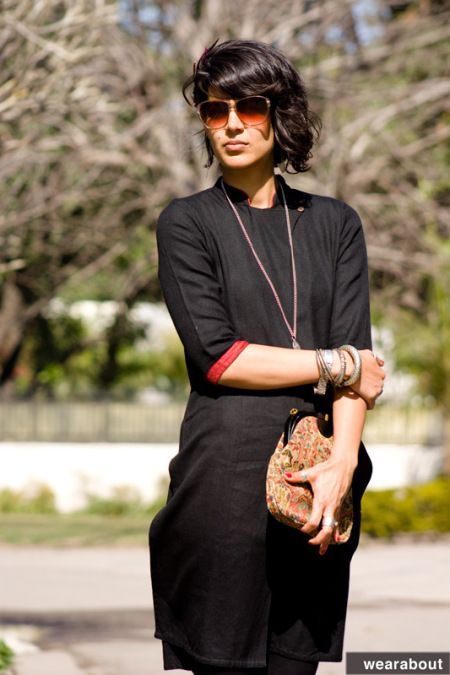 Fab India kurta with oxidised jewellery