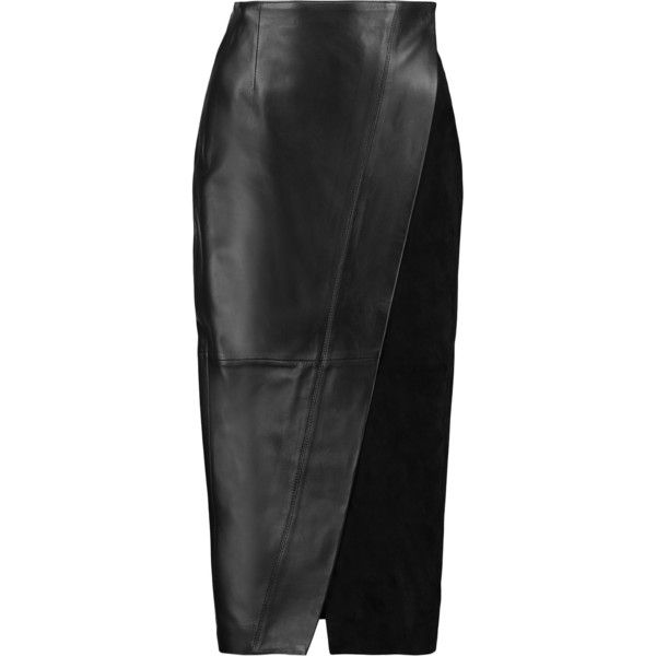 Iris and Ink - Suede-paneled Leather Wrap Skirt (1.390 BRL) ❤ liked on Polyvore featuring skirts, black, real leather skirt, mid calf skirts, suede leather skirt, stretchy skirt and calf length skirts