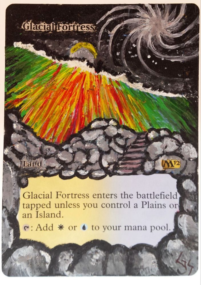 MTG Altered Art Glacial Fortress M12 Hand Painted Full Art OOAK Rare Magic Card #WizardsoftheCoast :~)