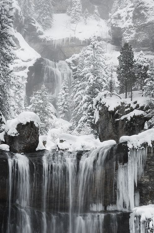 Rocks  waterfall in France Realm of Winter by alexandre-deschaumes