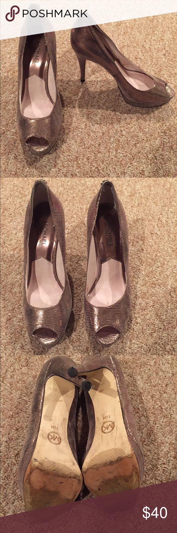 Silver Michael Kors Heels Silver Michael Kors Heels. EUC! Michael Kors Shoes Heels