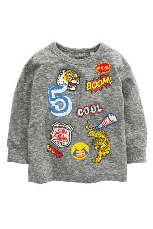 Buy Grey Long Sleeve Printed Badges T-Shirt (3mths-6yrs) online today at Next: United States of America