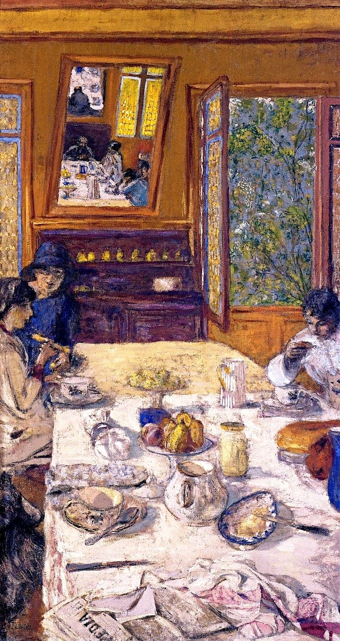 Annette Nathanson, Lucy Hessel and Miche Savoir at Breakfast / Edouard Vuillard - 1913