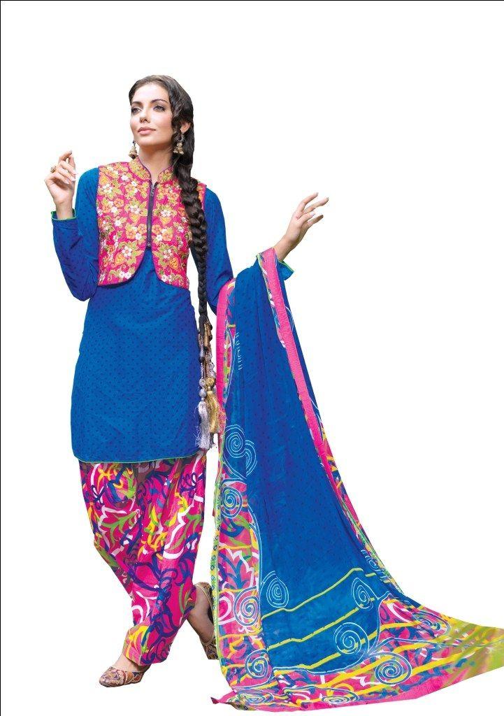 Royal Blue Designer 3Pcs Semi Stitch Patiyala Style Suit Dress Material With Designer Embroidery and Hand Work, Dupatta, with Punjabi Jacket or Koti-Clothing-PFJ