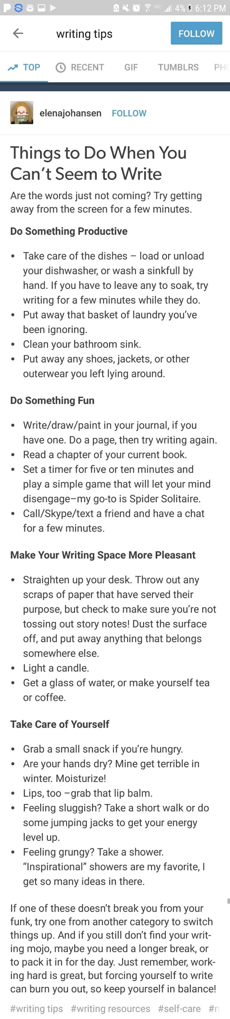 I keep burning myself out on my writing because I don't do this enough.