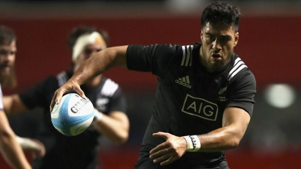 Maori All Black Akira Ioane heads towards the tryline against the USA Eagles in Chicago.